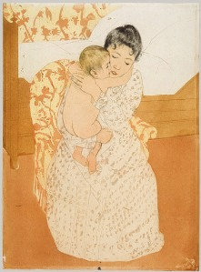 Mary Cassatt's Maternal Embrace, which portrays a mother hugging a young infant.