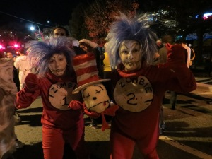 People dressed up as zombie versions of Thing 1 and Thing 2 at the Silver Spring Zombie Walk