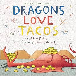 Dragons Love Tacos cover with a dragon gobbling tacos