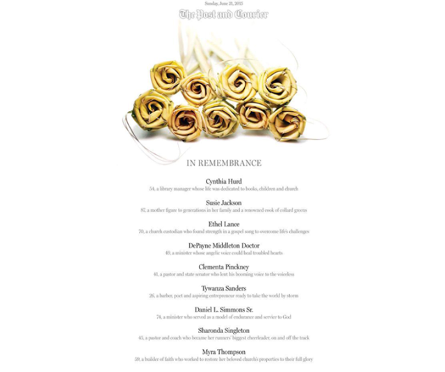 Cover of the Charleston Post-Courier, with a bunch of yellow roses and the victim's names and short descriptions.