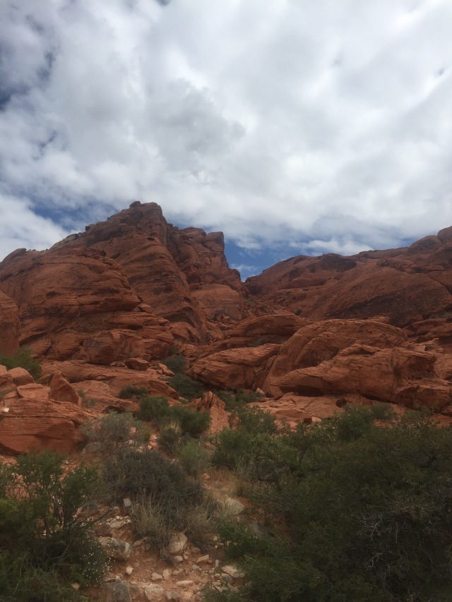 Red rock formations on the Calico Trail at Red Rocks National Recreation Area.