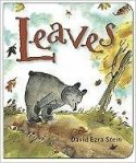 Cover of Leaves, with an illustration of a bear, looking at a fallen leaf