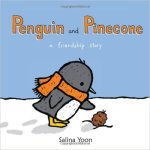 Cover of Penguin and Pinecone, with a penguin in a scarf looking at a pinecone