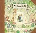 Cover of Me, Jane; has a cartoon of young Jane Goodall holding her stuffed chimpanzee, surrounded by jungle