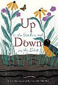 Cover to Up in the Garden and Down in the Dirt; has title of the book, flowers and a robin in a garden