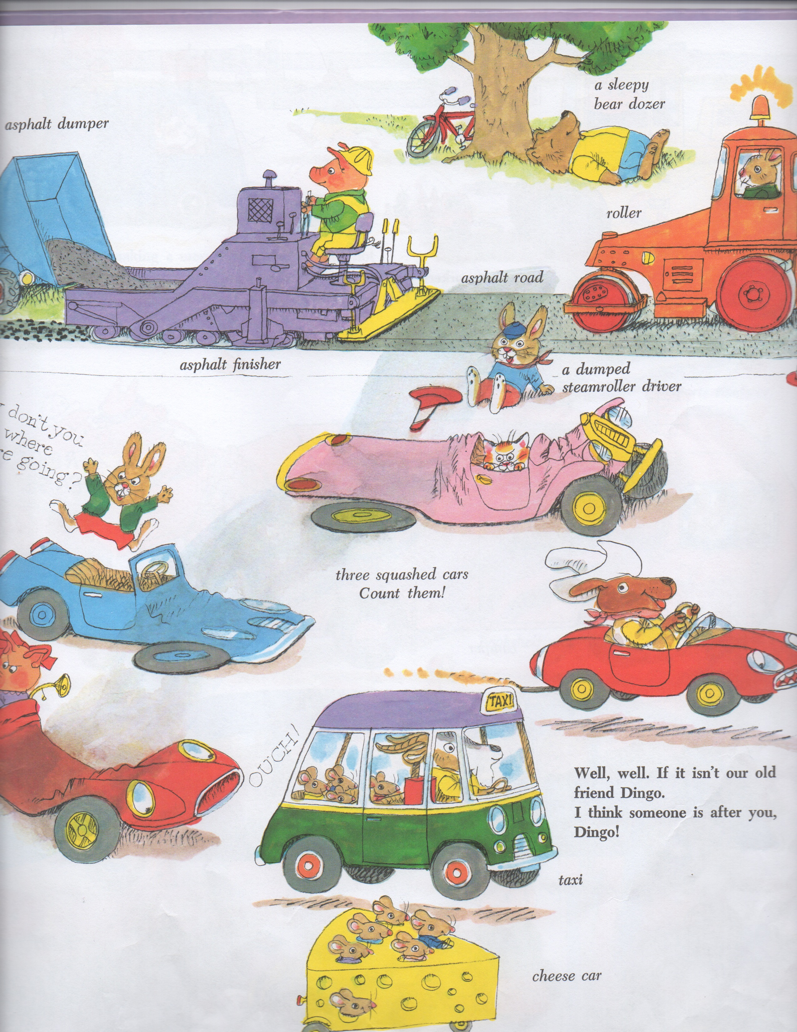 Scan from Cars and Trucks and Things that Go of cars run over