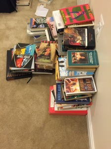 Photo of several piles of books
