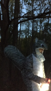 A man in a squirrel costume at the