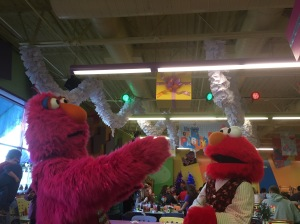 Dancing Telly Monster and Elmo at Sesame Place