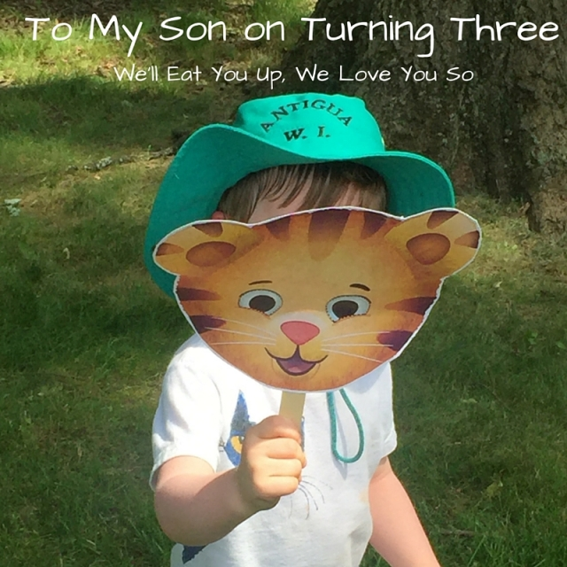 """Text: """"To My Son on Turning Three; We'll Eat You Up, We Love You So."""" Photo of three-year-old in a teal bucket hat holding a Daniel Tiger mask in front of his face standing on a green lawn."""