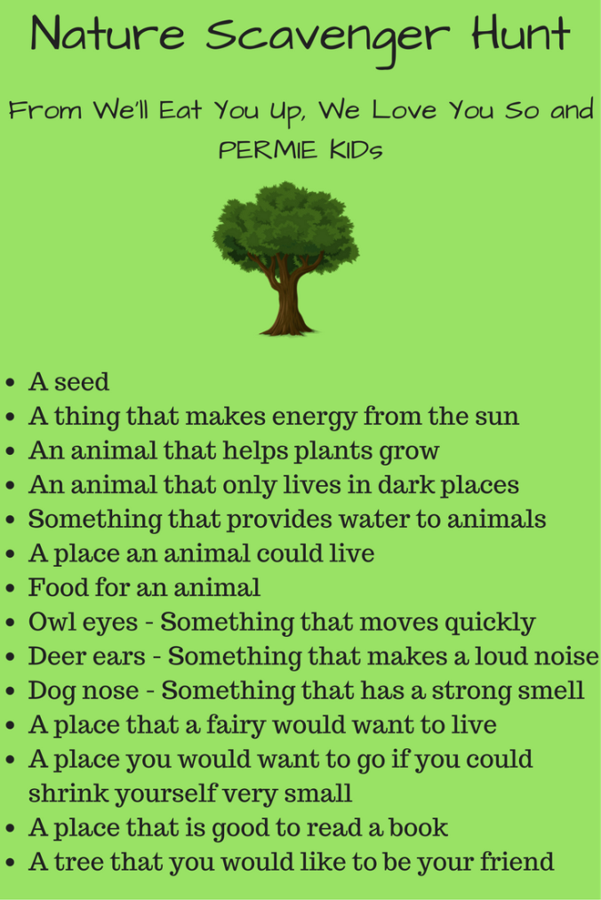Text: Nature Scavenger Hunt from We'll Eat You Up, We Love You So and PERMIE Kids; photo of a tree