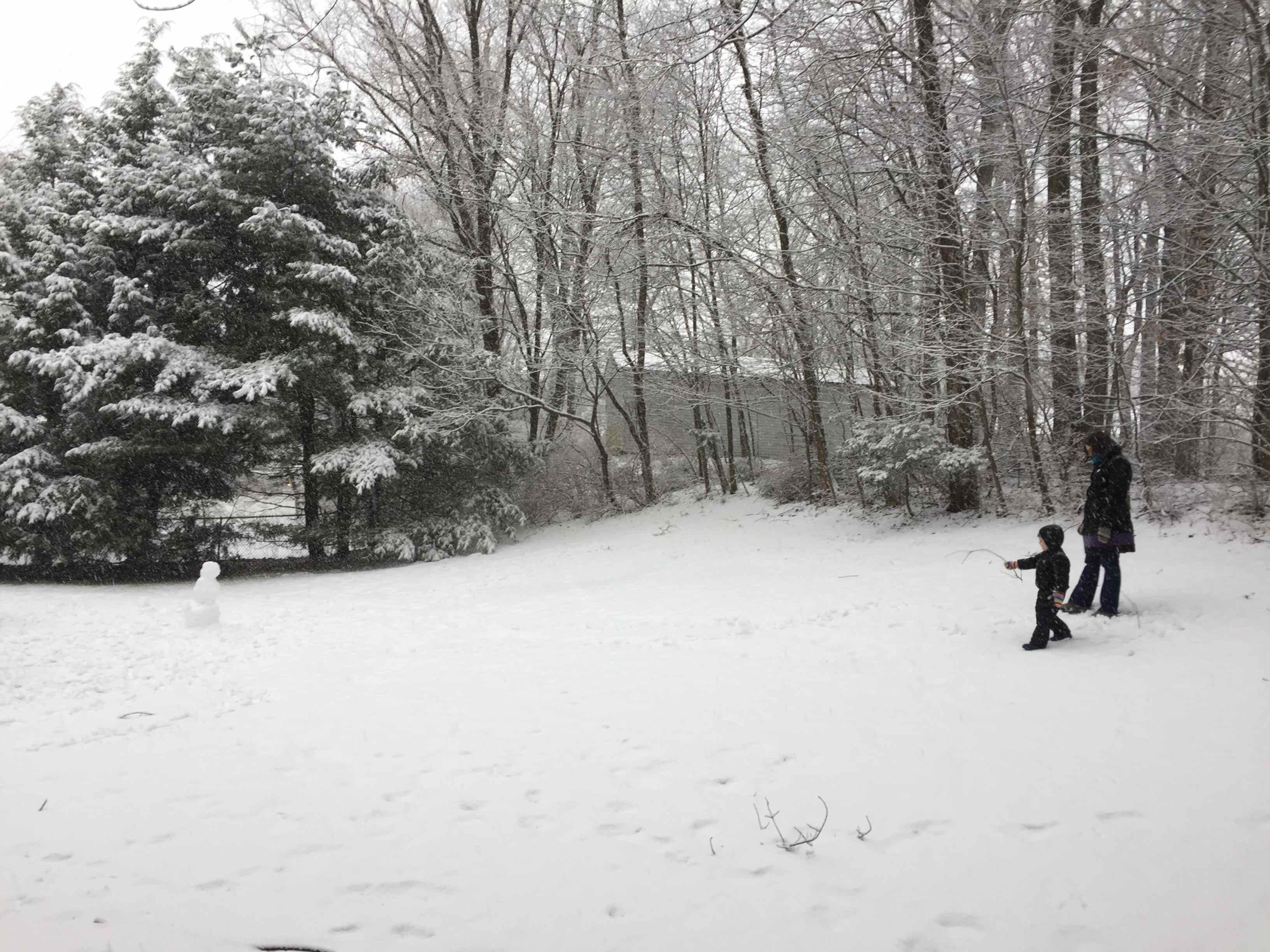 Child and woman walking in a snow-covered yard.