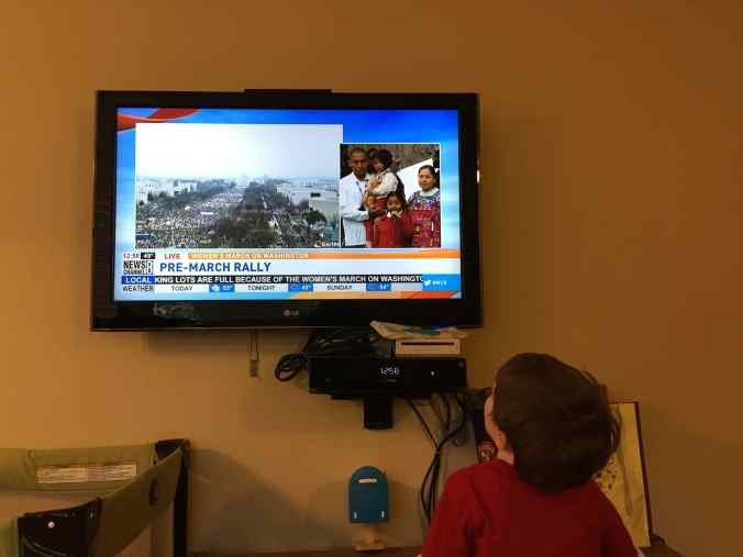 Watching rally on TV