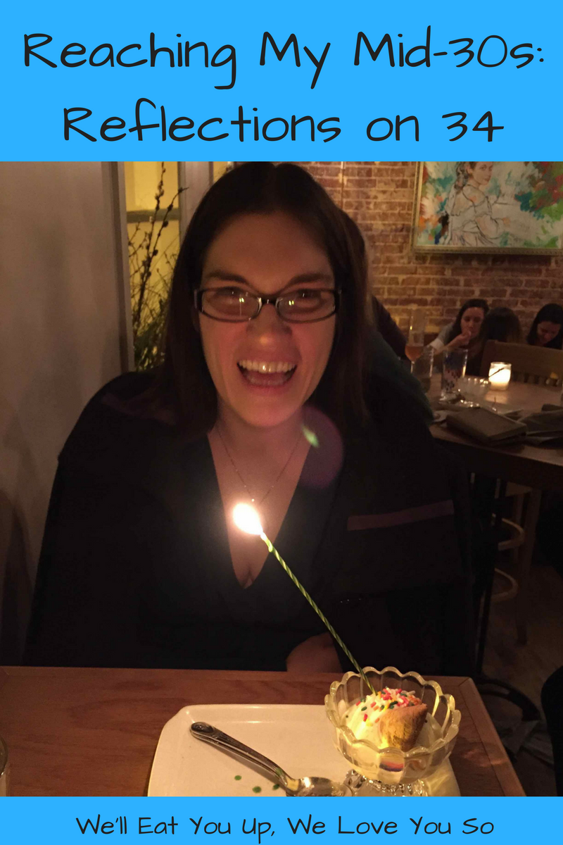 "Photo: Woman blowing out birthday candle on ice cream; Text ""Reaching My Mid-30s: Reflections on 34 / We'll Eat You Up, We Love You So"""