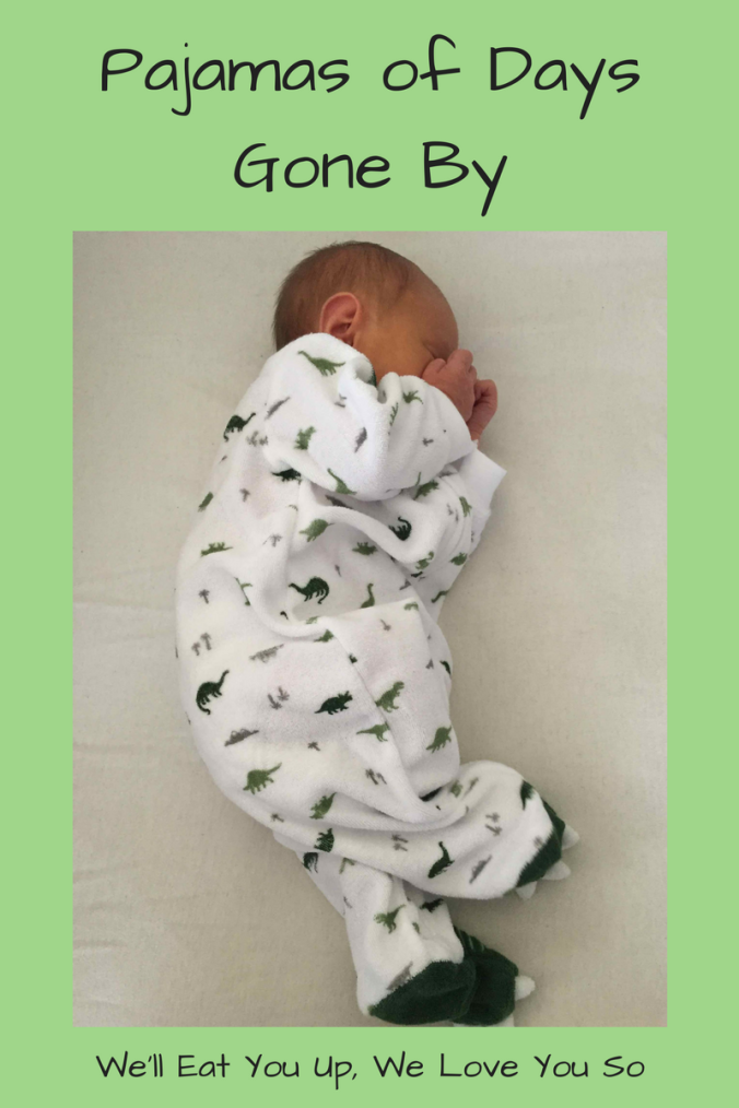 "Photo: Baby sleeping in footie pajamas covered in green dinosaurs. Text: ""Pajamas of Days Gone By / We'll Eat You Up, We Love You So"""
