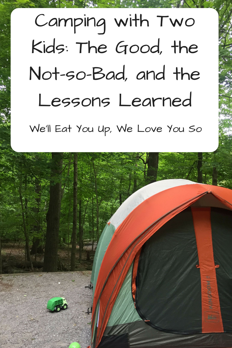 """""""Camping with Two Kids at Cunningham Falls State Park: The Good, The Not-So-Bad, and the Lessons Learned"""" Thinking about camping with two kids? Here's what we enjoyed and what we'd do differently next time. (Photo: Orange, white and green tent on a packed dirt campsite in front of trees with a toy truck.)"""